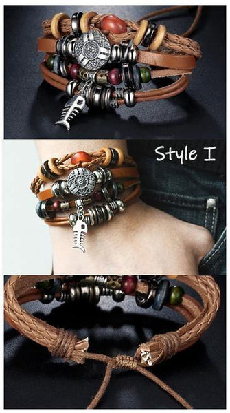 Leather Bracelets | Street Style Biker Southwest Rock`n Roll Outfit Additions & Accessories CHARMERRY A11