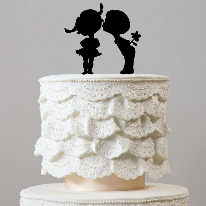 Sweet Cheek Kiss Wedding Cake Topper (Engagement /Bridal Shower Party)