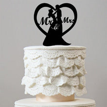 Load image into Gallery viewer, Sweetest Love Heart Shape Wedding Cake Topper (Romantic Mr Mrs) - CHARMERRY