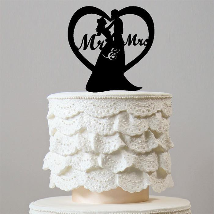 Sweetest Love Heart Shape Wedding Cake Topper (Romantic Mr Mrs) - CHARMERRY