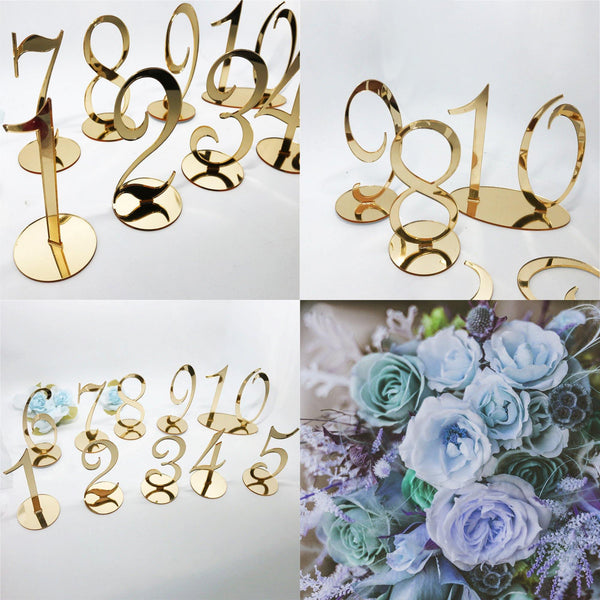 Table Number Stands  Signs  Rustic Country Vintage Wedding Decor Gold (Set of 10, 20, 30) Charmerry a01