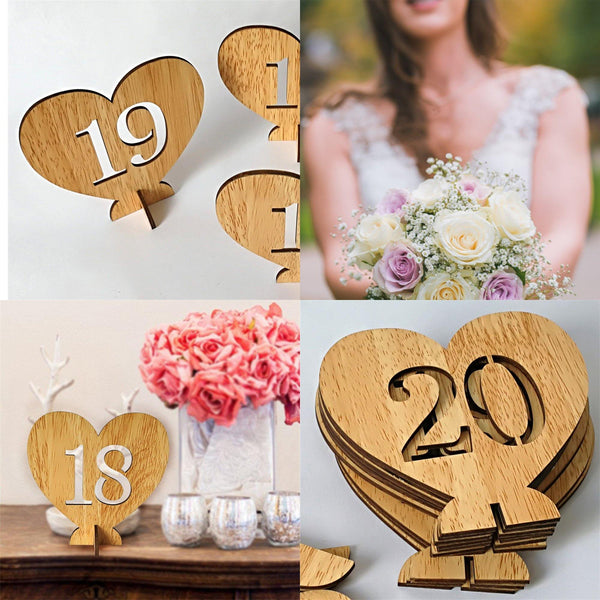 Table Number Stands  Signs  Rustic Country Vintage Wedding Decor (Love Heart Shape 1-20) Charmerry a01