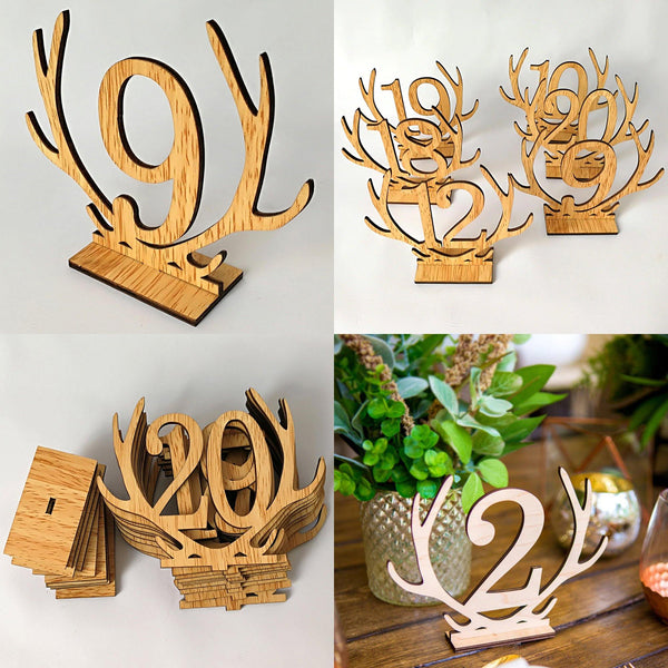 Table Number Stands  Signs  Rustic Country Vintage Wedding Decor (Wooden 1-20) Charmerry a01