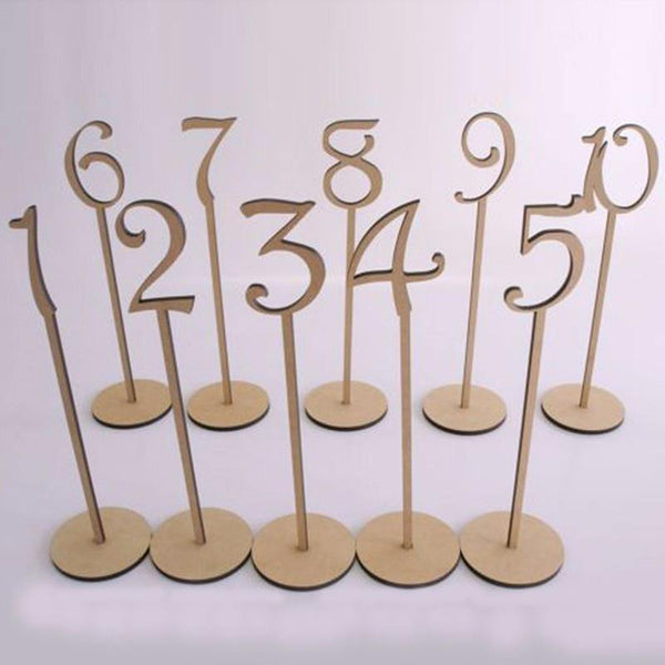 Table Numbers 1-10 (Set of 10) [Rustic Wedding /Wood]