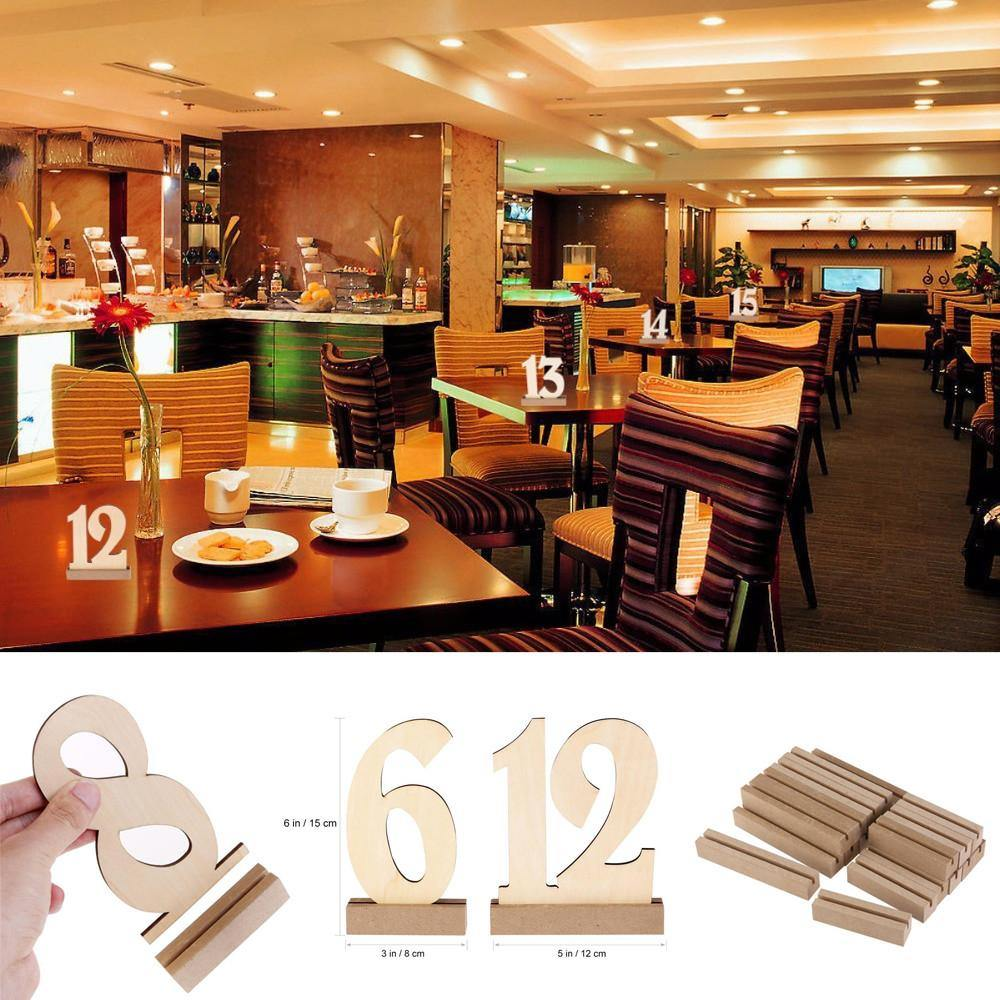 Table Numbers Wood Table Signs Rustic Wedding Simple - Restaurant table number signs