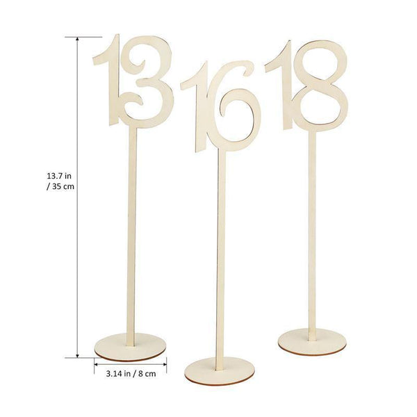 Table Number Wood Stand 1-20 (Set of 20)