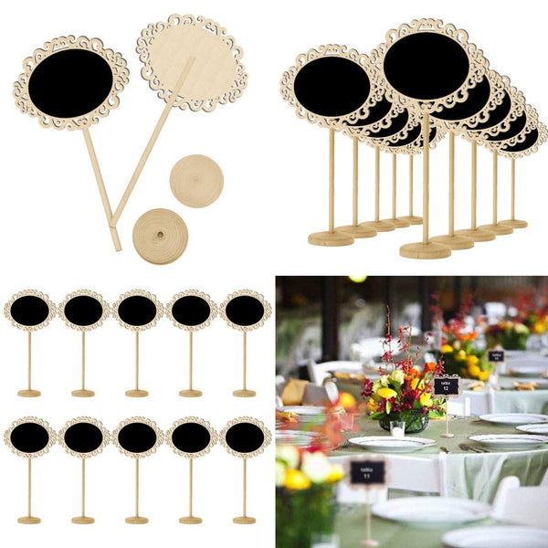 Table Numbers  Rustic Country Vintage Wedding Decor Blackboard Signs, Chalkboard Stands [Wood Set of 10] Charmerry a01