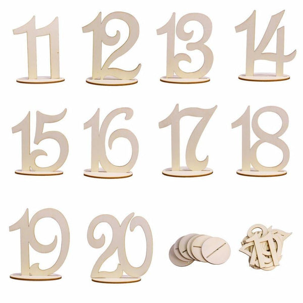 Table Numbers for Wedding Party Decorations (Romantic Rustic Theme /Vintage) [11 to 20]