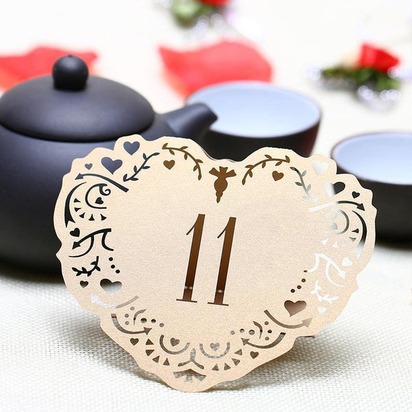 Table Numbers for Wedding [Rustic Vintage Baroque Theme] (11 to 20 Table Cards) 10pcs/set [Natural]