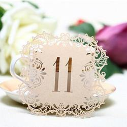 Table Numbers for Wedding Party [Rustic Theme /Vintage /Baroque] (11 to 20 Table Cards) 10pcs/set - CHARMERRY