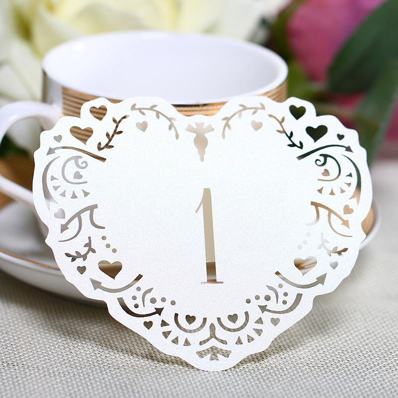 Table Numbers for Wedding [Rustic Vintage Baroque Theme] (1 to 10 Table Cards) 10pcs/set [Ivory]