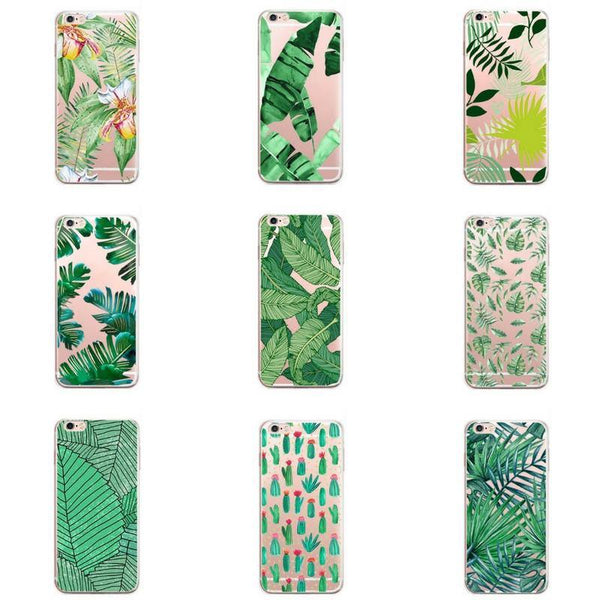 iPhone 7 Plus Case -Tropical iPhone7 Protective Cover (Palm Plant Cactus Island Beach Nature Relax)