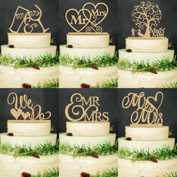 Wood Wedding Cake Topper (Rustic /Vintage /Country Themes) [Mr Mrs /Bride Groom /Love Heart /Cheers]