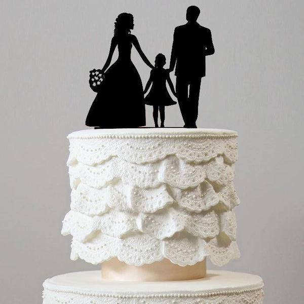 Wedding Cake Topper (Bride, Groom &1 Daughter) - Girl / Blended Family