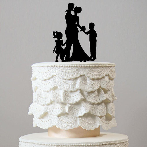 Wedding Cake Topper (Children Kids Boy Girl Son Daughter) [4 Family Members] Charmerry