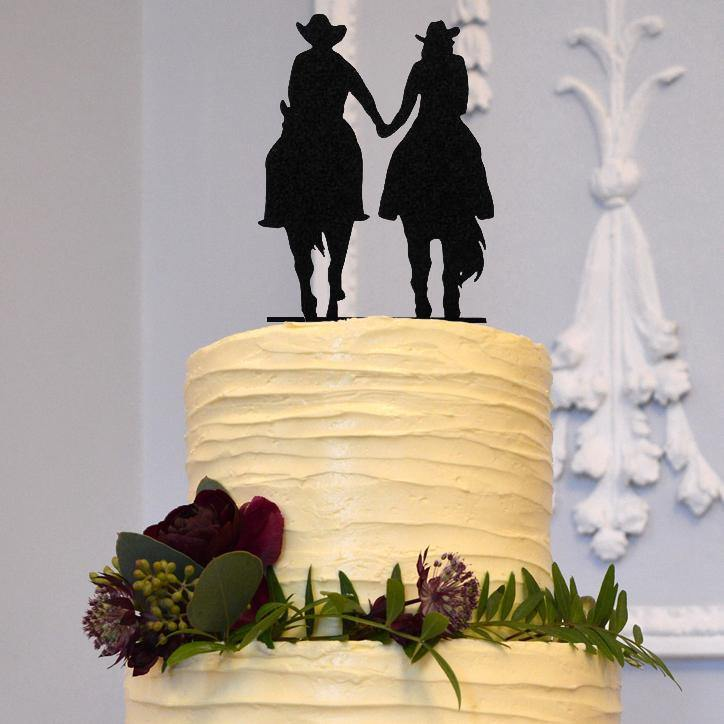 Wedding Cake Topper Decoration (Cowboy & Cowgirl Country Western Style) Charmerry