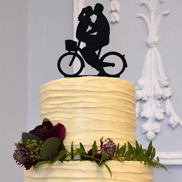 Wedding Cake Topper Decoration (Romantic Bride & Groom Kissing on Bike) Charmerry