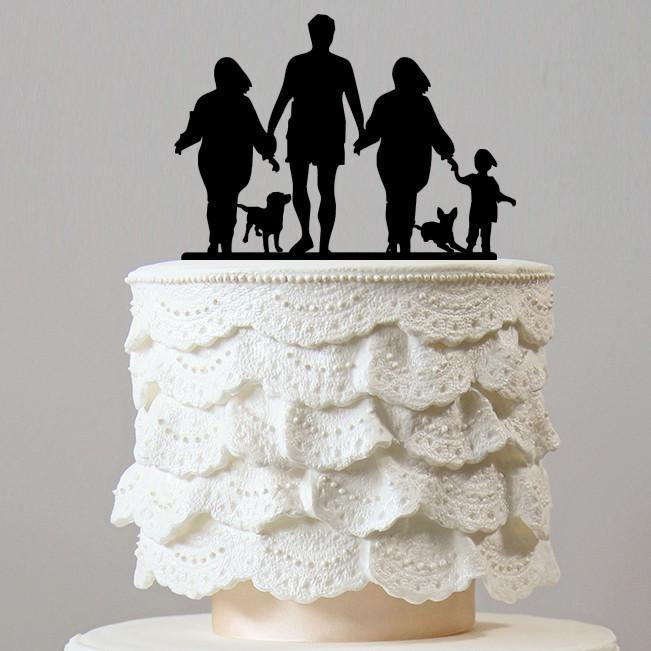 Family Cake Topper (Mom Dad Son Daughter & Dogs) [4 Members w/ 2 Pets] - CHARMERRY