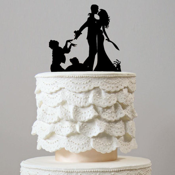 Wedding Cake Topper (Horror Thriller Wedding Themes) Zombie Ghost Resident Evil Styles Charmerry