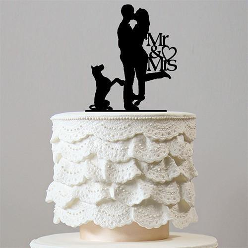 Wedding Cake Topper (Romantic Foot Popping Kiss /Dog Pet Puppy /Hug Embrace)