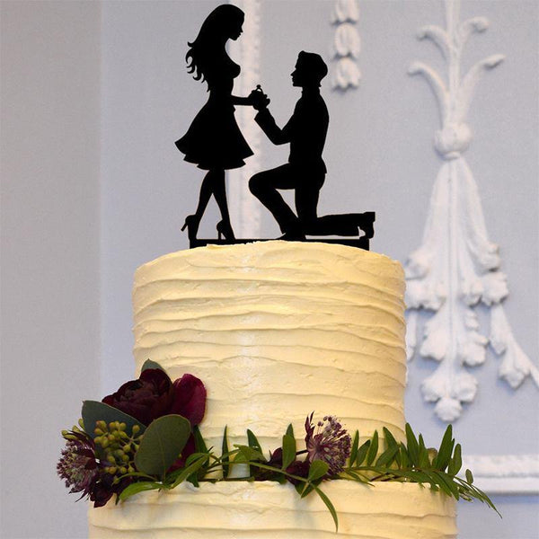 Wedding Cake Topper (Romantic Proposing Marriage Proposal Engagement Ring) Chamrerry