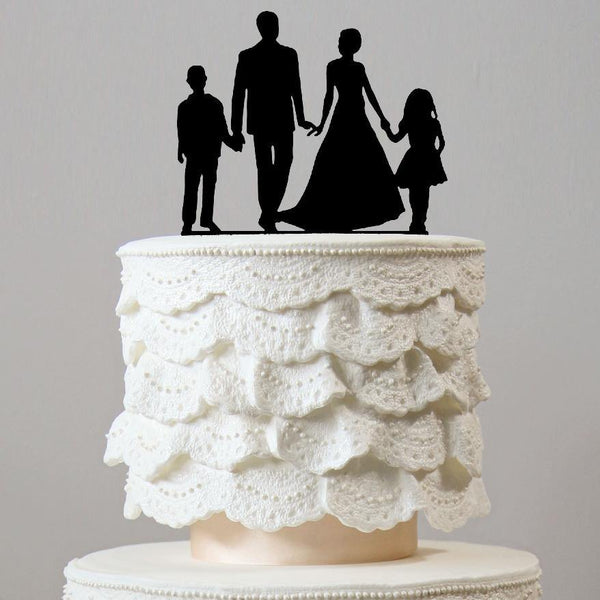 Wedding Cake Topper (Son Daughter Boy Girl Children Kids) [4 Family Members]