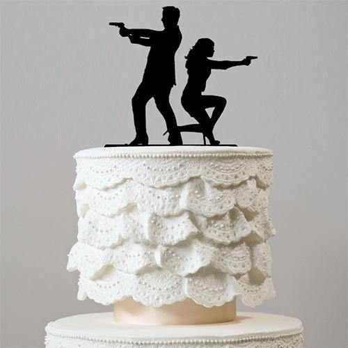 Wedding Cake Topper (Spy Secret Agent Wedding Themes) Mr. & Mrs. Smith, 007 James Bond Styles Charmerry