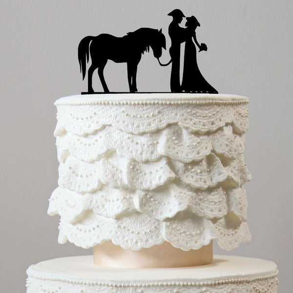 Wedding Cake Toppers - Cowboy & Horse (Western Rustic Country Vintage)