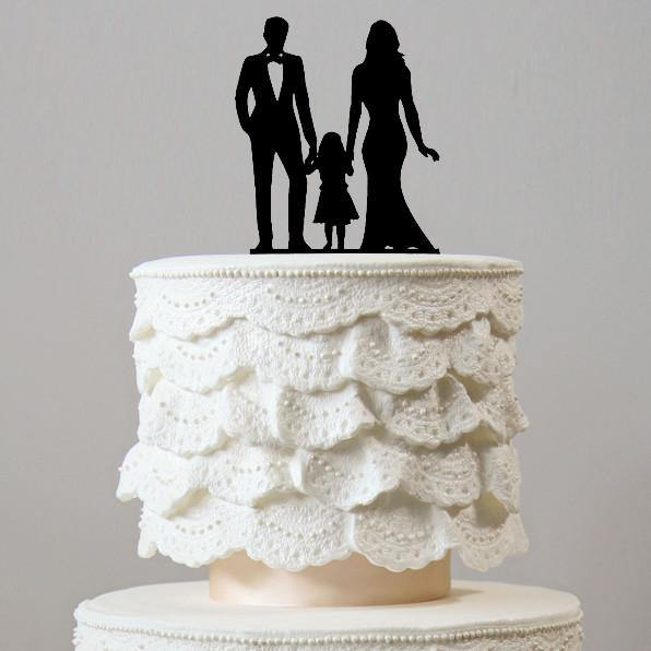 Wedding Cake Toppers (Bride Groom &1 Daughter) [Sweet Family /Girl] - CHARMERRY