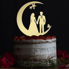 Load image into Gallery viewer, Wedding Cake Toppers & Keepsakes (Romantic Bride Groom Gazing Lovingly on the Moon) Charmerry