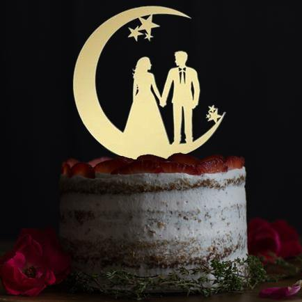 Wedding Cake Toppers & Keepsakes (Romantic Bride Groom Gazing Lovingly on the Moon) Charmerry