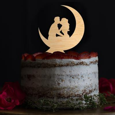 Wedding Cake Toppers & Keepsakes (Romantic Bride Groom Kissing on the Moon) Charmerry
