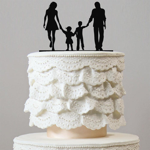 Wedding Cake Toppers (Son Daughter Boy Girl Children Kids) [4 Family Members]