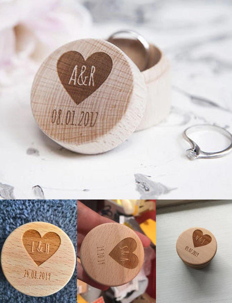 Wedding Ring Box  Customized Engagement Ring Holder, Ring Bearer  Proposal Ring Box, Wood Keepsake Gift Box Charmerry A02