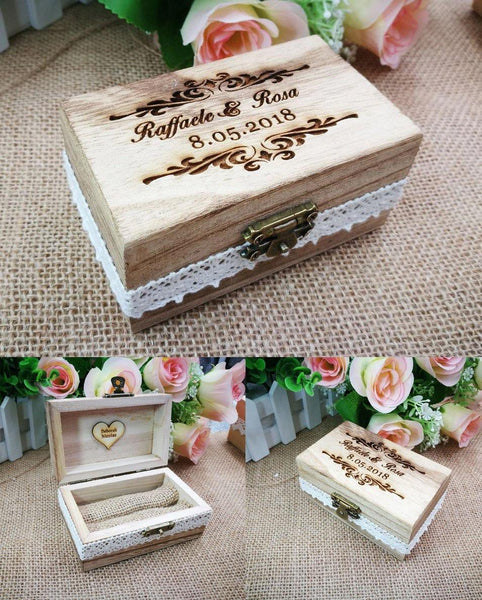 Wedding Ring Box  Wood Engagement Ring Holder, Customized Jewelry Keepsake Gift Box Charmerry a01