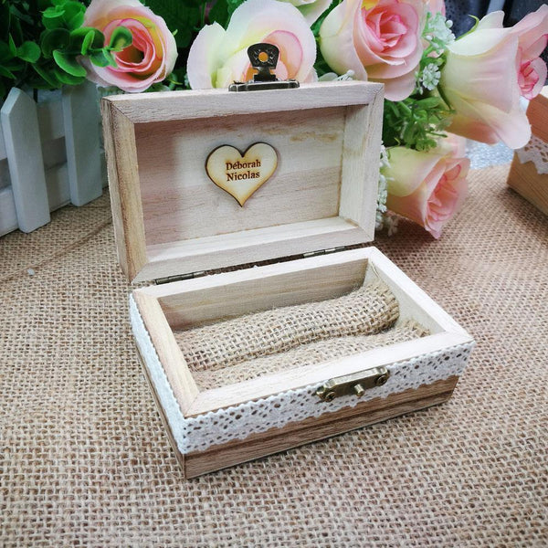 Wedding Ring Box  Wood Engagement Ring Holder, Customized Jewelry Keepsake Gift Box Charmerry a04