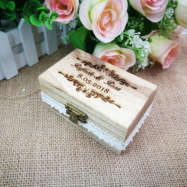 Wedding Ring Box  Wood Engagement Ring Holder, Customized Jewelry Keepsake Gift Box Charmerry a03