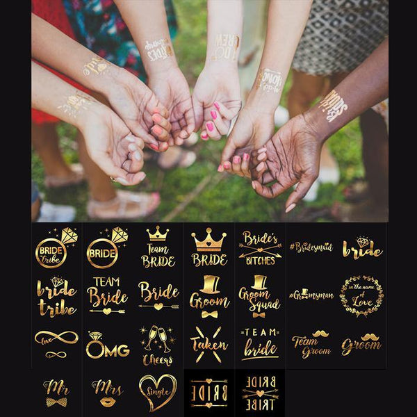 Wedding Tattoo Stickers (Gold) Party Ideas /Bridesmaid Gifts [10pcs /Set]