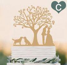 Wood Wedding Cake Topper (Rustic /Vintage /Country Themes) [Mr Mrs /Bride Groom /Dog Pet Puppy]