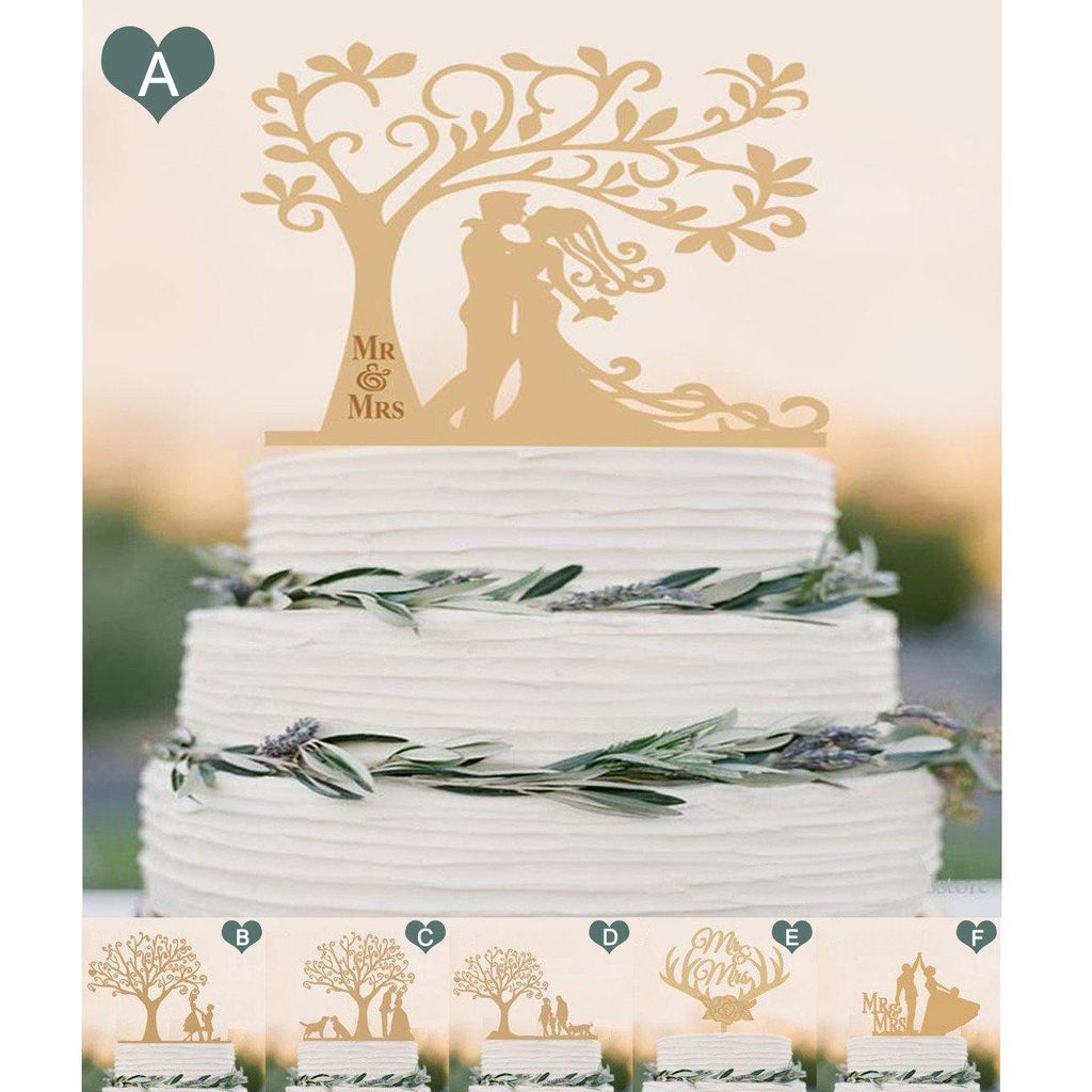 Wood Wedding Cake Topper (Rustic /Vintage /Country Themes) [Mr Mrs ...