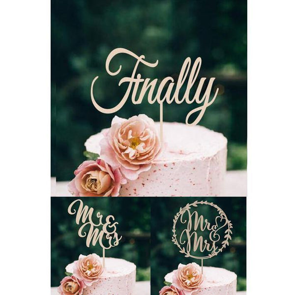 Wood Wedding Cake Topper (Rustic /Vintage /Country Themes /Simple &Elegant) [Finally /Mr & Mrs]