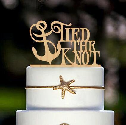 Wood Wedding Cake Toppers (Navy /Rustic Theme) [Tied The Knot /Anchor]