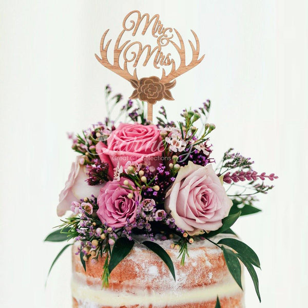 Wood Wedding Cake Toppers (Rustic /Vintage /Country Themes) [Mr Mrs Antler]