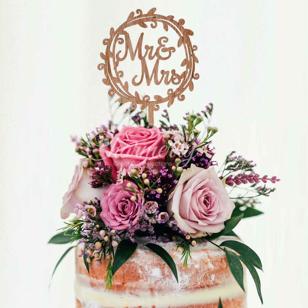 Wood Wedding Cake Toppers (Rustic /Vintage /Country Themes) [Mr Mrs Wreath] - CHARMERRY