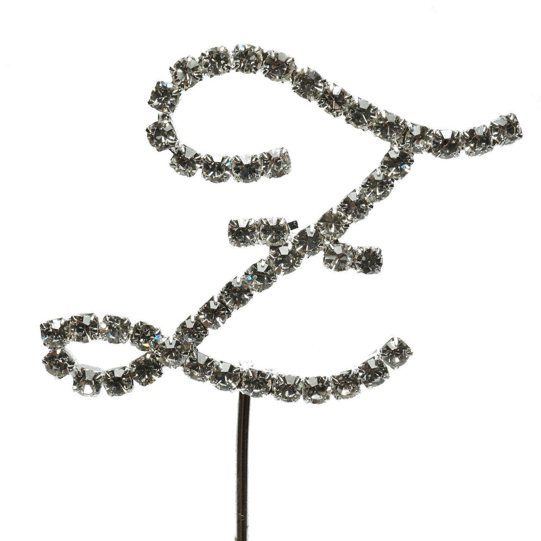 Z Letter Crystal Rhinestone Cake Topper (FAUX Diamond /Silver Diamante) - CHARMERRY