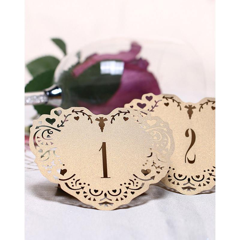 Wedding Party Table Numbers [Rustic Vintage Baroque Theme] (1 to 10 Table Cards) 10pcs/set [Natural] - CHARMERRY