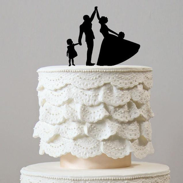 Family Wedding Cake Topper (Dancing w/ Daughter /Little Girl /Child /Kid) [Engagement /Anniversary]
