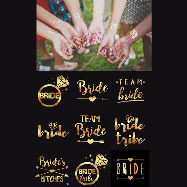 Wedding Tattoo Stickers (Gold) Party Ideas /Bridesmaid Gifts [25pcs /Set]