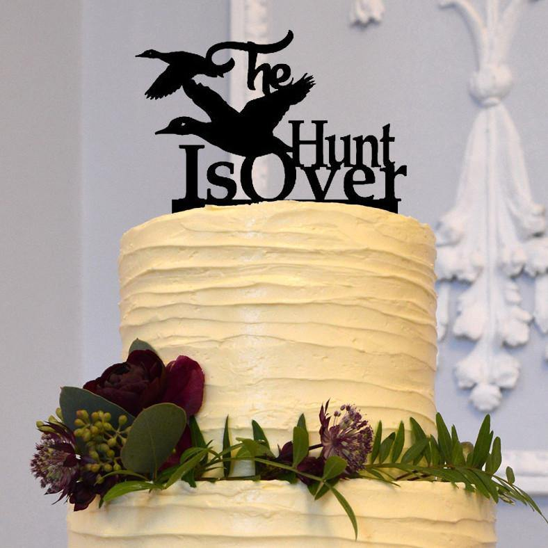 Hunt Is Over Wedding Cake Topper Duck Hunting Country Western Rustic Engagement CHARMERRY