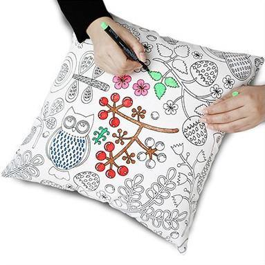 Pillow Case Covers (DIY Coloring Cushion Covers /Creative Pillowcase Gifts) [Pillow & Pen DIY Set]